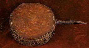 Tibetan Ritual Dance Drum w/ Beautifully Carved Phurba